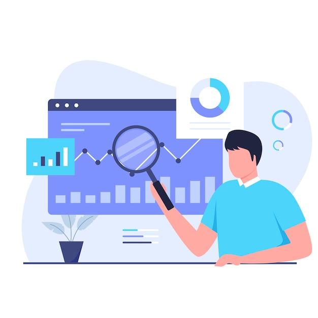 Concetto di design dell'illustrazione di ricerca di mercato
