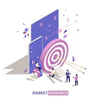 Concetto di design isometrico per ricerche di mercato con frecce al centro della comunicazione di rete dei profili di grandi obiettivi e account utente