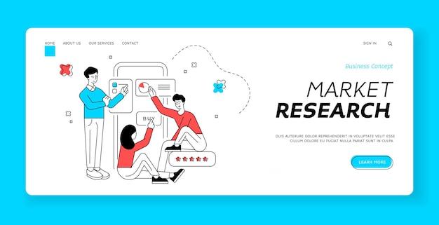 Modello di banner della pagina di destinazione per ricerche di mercato. persone che esplorano i grafici sull'applicazione mobile del negozio online