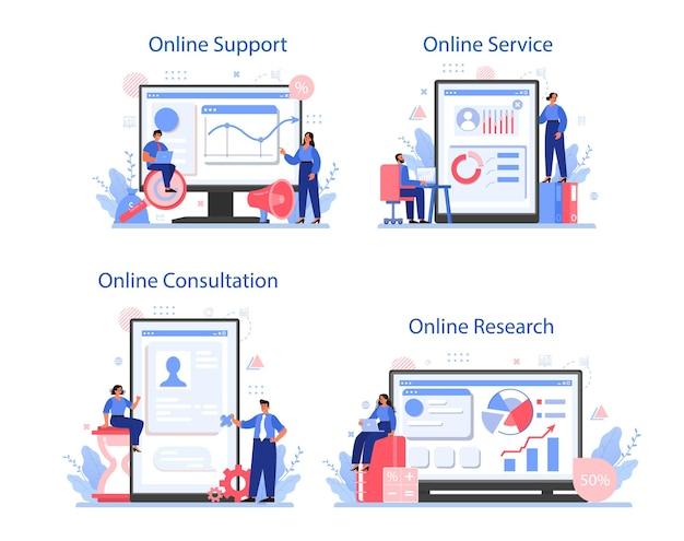 Servizio online di ricerche di mercato o set di piattaforme. ricerca aziendale per lo sviluppo di nuovi prodotti. statistiche sui dati di mercato. supporto in linea, ricerca, consulenza.