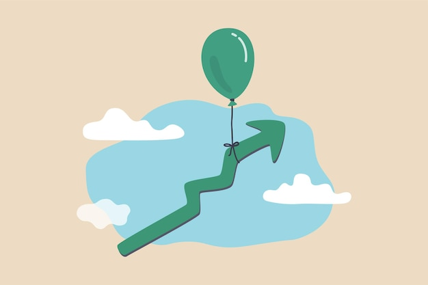 Mercato in crescita crescita economica aumento degli utili ad alte prestazioni o prosperità