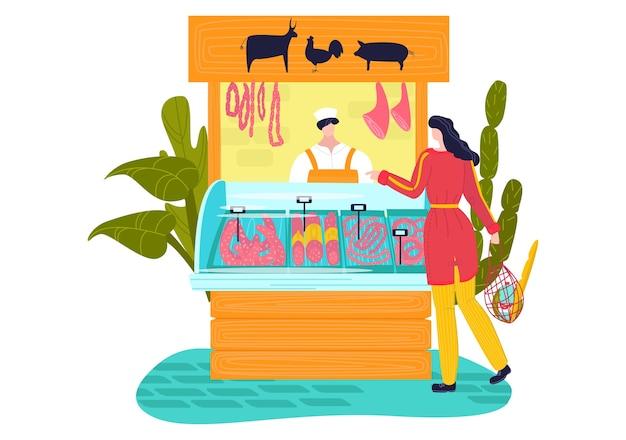 Bancarella del mercato, stile piatto di prodotti a base di carne, negozio di strada, manzo dalla fattoria, maiale fresco, illustrazione del fumetto, isolato su bianco.