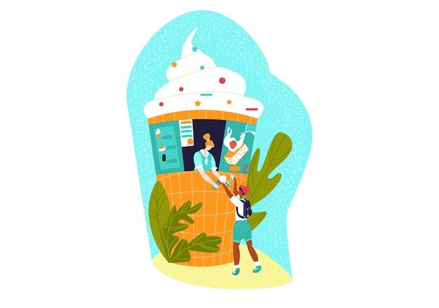 Bancarella del mercato, set di prodotti in stile piatto, negozio di strada, dessert rinfrescante estivo, illustrazione di cartone animato, isolato su bianco.