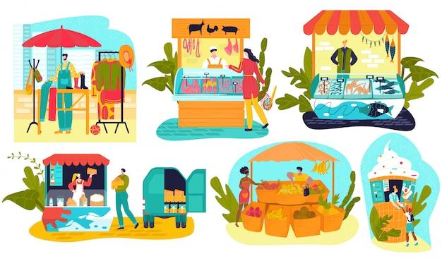 Bancarelle del mercato, negozi di agricoltori del mercato locale, stand gastronomici set di illustrazioni.