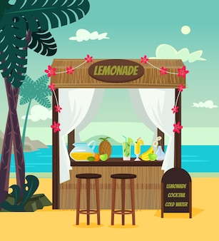 Limonata di vendita del negozio di mercato sulla località di mare della spiaggia. l'ora legale vacanza vacanza relax banner poster fumetto illustrazione piatta