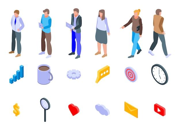 Set di icone di marketer, stile isometrico