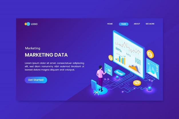 Pagina di destinazione del concetto isometrico di analisi di marketing
