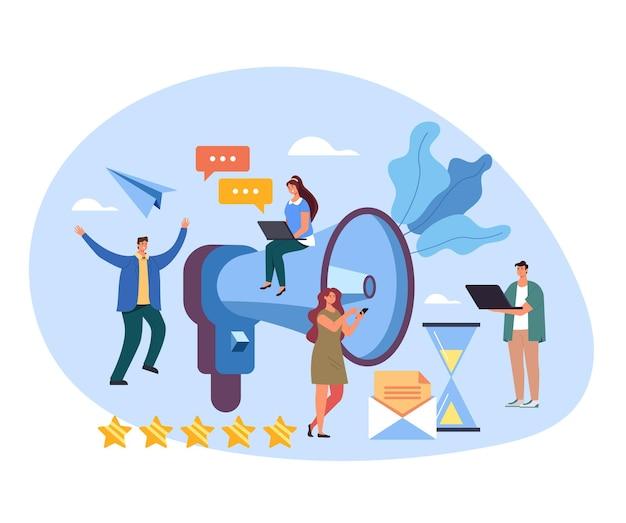 Annunci di marketing altoparlante target promozione pubblicità media concetto di lavoro di squadra