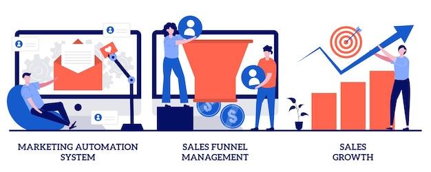 Sistema di automazione del marketing, gestione dell'imbuto di vendita, concetto di crescita delle vendite con persone minuscole. insieme dell'illustrazione dell'estratto del software di marketing. sistema crm, conversione dei lead, metafora del database dei clienti.