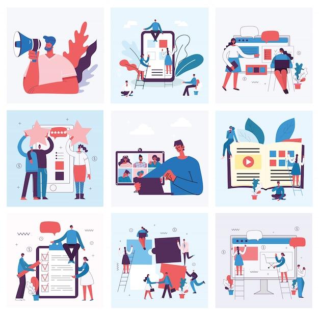 Campagna di marketing, videoconferenza, illustrazione di concetto di analisi commerciale nella progettazione piana e pulita moderna. uomini e donne usano laptop e tablet.