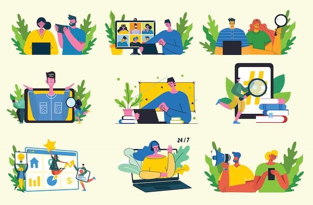 Campagna di marketing, videoconferenza, illustrazione di concetto di analisi commerciale nella progettazione piana e pulita moderna.