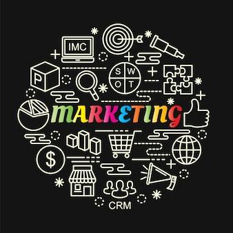 Marketing colorato gradiente con set di icone di linea