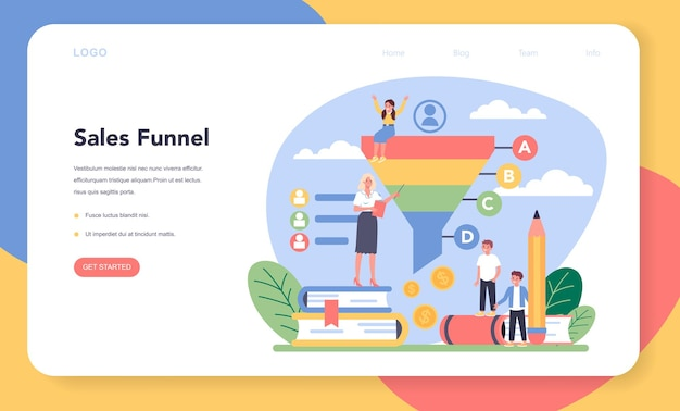 Banner web o pagina di destinazione del corso scolastico di educazione al marketing
