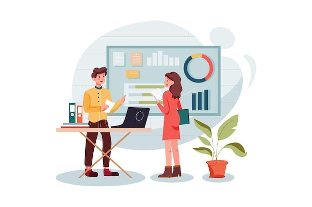 Impiegato di marketing analizzando i dati di marketing illustrazione