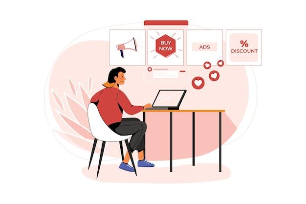 Illustrazione degli annunci di pubblicazione dei dipendenti di marketing