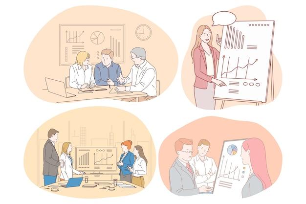 Marketing finanza lavoro di squadra presentazione comunicazione aziendale, concetto di statistiche.