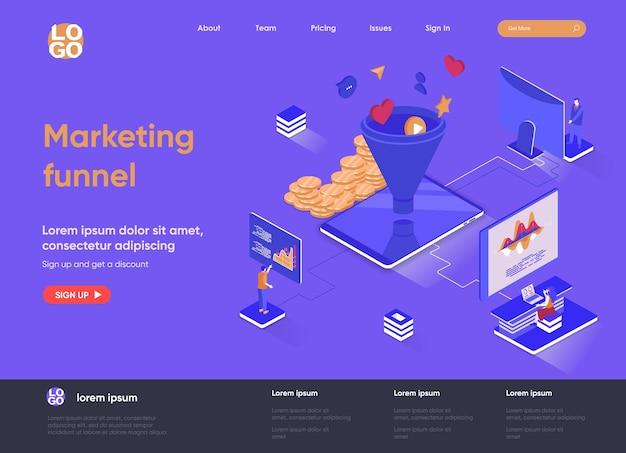 Illustrazione isometrica del sito web della pagina di destinazione dell'imbuto di marketing 3d con i caratteri della gente