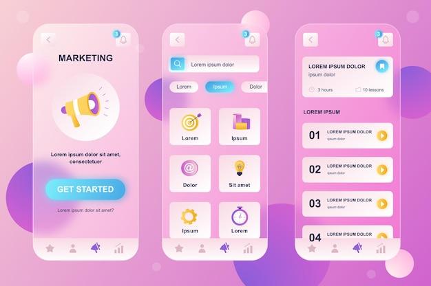 Kit di elementi neumorfici di design glassmorphic di marketing per le schermate gui ux dell'interfaccia utente dell'app mobile