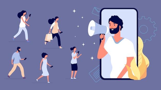 Influenza del mercato. influencer aziendale, blogger mobile con megafono e fan. acquirenti piatti, promozione del prodotto di strategia nell'illustrazione di vettore di internet. promozione smm, contenuto social influencer