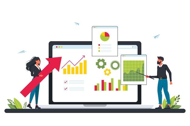 Investimenti di marketing, pianificazione della domanda, concetto di auditing digitale con persone minuscole. contabilità. piano aziendale, gestione finanziaria, vendite digitali, metafora delle entrate. concetto per l'audit del sito web, revisione