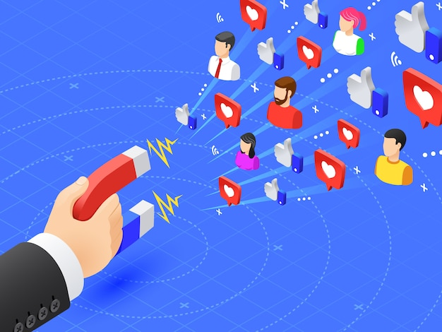Seguaci coinvolgenti del marketing. ai social media piace e segue il magnetismo. l'influencer annuncia l'illustrazione di vettore di strategia