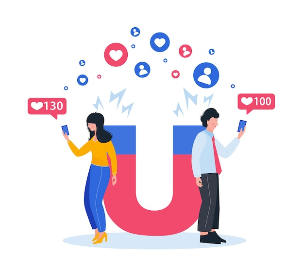 Magnete di marketing che coinvolge i follower