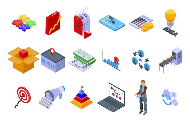 Set di icone di marketing mix. set isometrico di icone vettoriali marketing mix per web design isolato su sfondo bianco