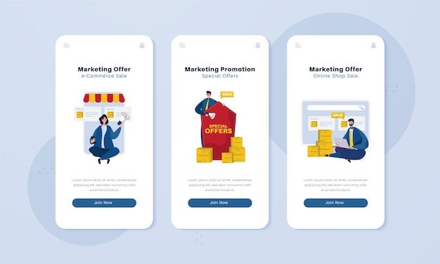 Promozione del marketing sul concetto di illustrazione dello schermo a bordo
