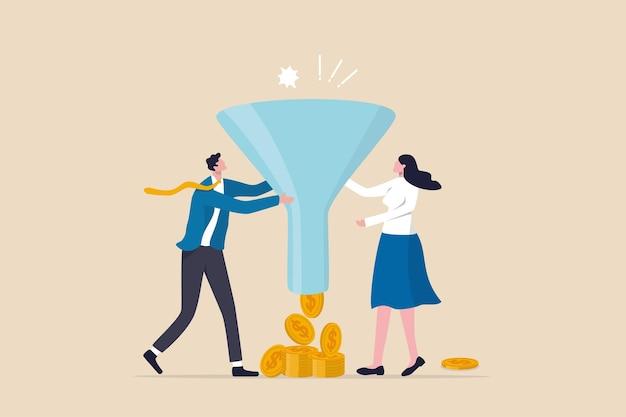 Imbuto di marketing o vendita, tasso di conversione o prodotto di acquisto del cliente da campagna pubblicitaria, annunci online o concetto di tasso di acquisto, marketing di uomini d'affari che tiene imbuto con flusso di denaro per l'acquisto