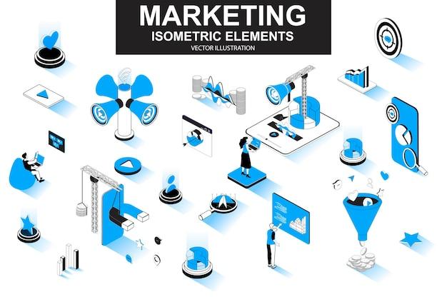 Elementi di linea isometrica 3d di strategia di marketing