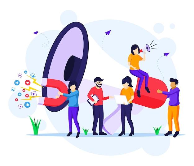 Concetto di campagna di strategia di marketing, persone che tengono e gridano sul megafono gigante per l'illustrazione piana di vettore di promozione