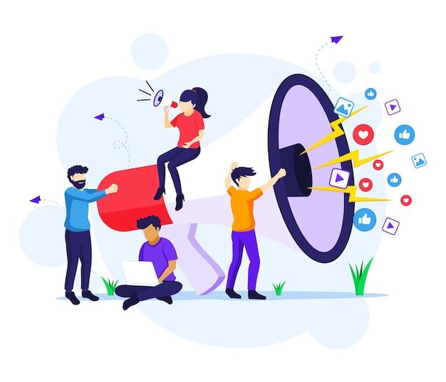 Concetto di campagna di strategia di marketing, persone che tengono e gridano sul megafono gigante per l'illustrazione del programma di promozione e vendita