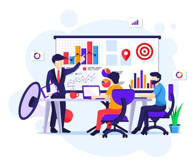 Concetto di strategia di marketing, uomini d'affari in riunione e presentazione per la nuova illustrazione di promozione delle vendite della campagna
