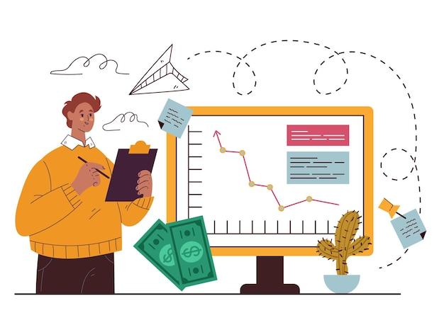 Illustrazione disegnata a mano piana di vettore dell'elemento di progettazione di strategia di marketing
