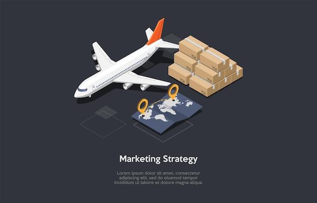 Illustrazione di strategia di marketing in stile cartone animato 3d.