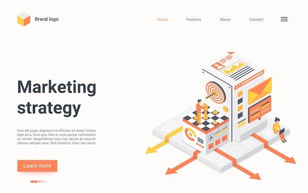 Impiegato dell'uomo d'affari della pagina di destinazione isometrica di strategia di marketing in piedi sulla scacchiera
