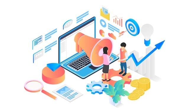 Illustrazione di stile isometrico di strategia di marketing con carattere e imbuto