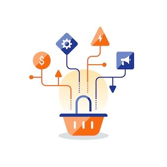 Piano di strategia di marketing, icona del cestino, miglioramento delle vendite, shopping online