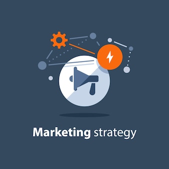 Piano di strategia di marketing, icona del megafono, annuncio di attenzione, concetto di pubbliche relazioni