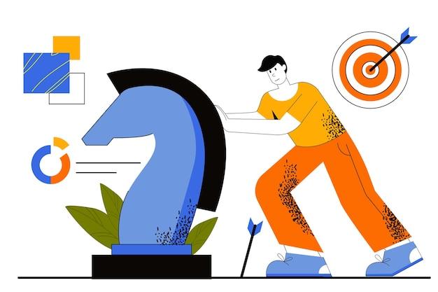 Concetto di web di strategia di marketing. il marketer sviluppa una strategia di successo. pianificazione aziendale, promozione di progetti, targeting e raggiungimento degli obiettivi.