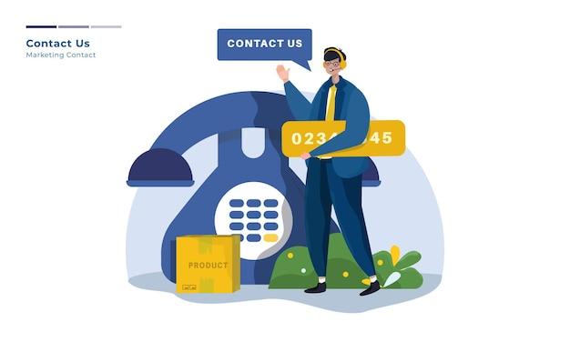 Illustrazione del supporto di contatto del team di marketing