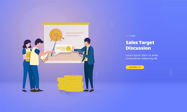 Il team di marketing discute sulla pagina di destinazione dell'obiettivo di vendita