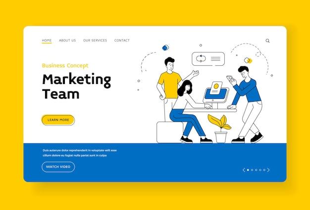 Modello di banner della pagina di destinazione del team di marketing. uomini e donne che utilizzano smartphone e computer per analizzare i dati mentre lavorano insieme in ufficio