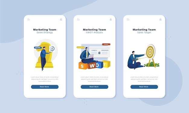 Strategia del team di marketing sul concetto di illustrazione dell'interfaccia dello schermo a bordo