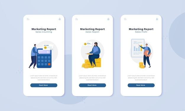 Team di marketing con rapporto sulle vendite sul concetto di illustrazione dello schermo a bordo