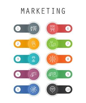 Concetto di modello di interfaccia utente alla moda di marketing con icone di linea semplice. contiene pulsanti come invito all'azione, promozione, piano di marketing, strategia di marketing e altro