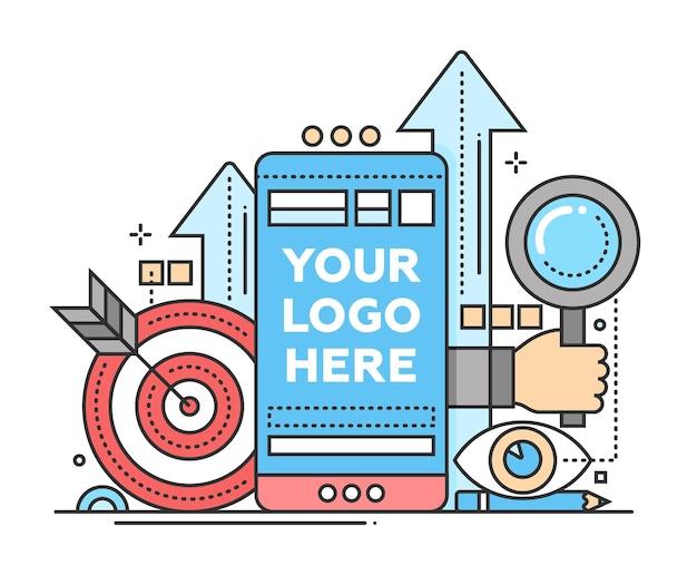 Marketing - illustrazione vettoriale moderno design piatto con copyspace per il tuo logo. dispositivo mobile, mano con lente d'ingrandimento, freccette