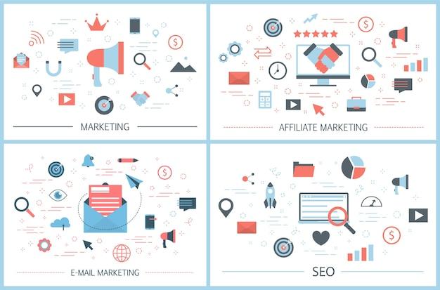 Set di banner web di marketing. e-mail e affiliato
