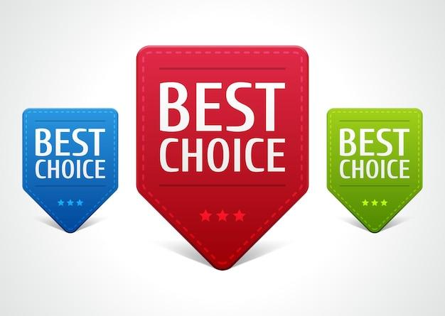 Etichetta web di marketing per la scelta migliore