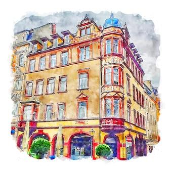 Marktplatz altenburg germania illustrazione disegnata a mano di schizzo ad acquerello